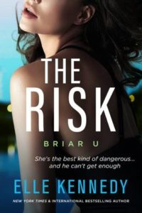 The cover for The Risk by Elle Kennedy, features a woman in a black tank top and black hair. The picture is of her back and she is slightly looking over he shoulder.